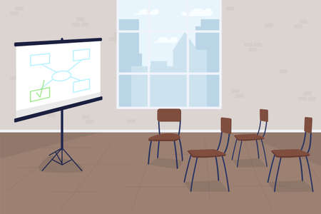 Business training flat concept vector illustration. Project screen with diagram. Company conference. Corporate presentation 2D cartoon scene for web design. Office interior creative idea