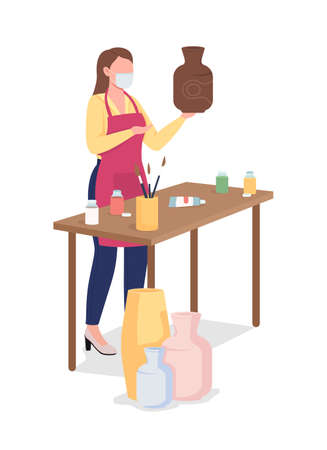 Woman painting clay vase flat color vector faceless character. Creative hobby during pandemic. Female artist. Pottery workshop isolated cartoon illustration for web graphic design and animation