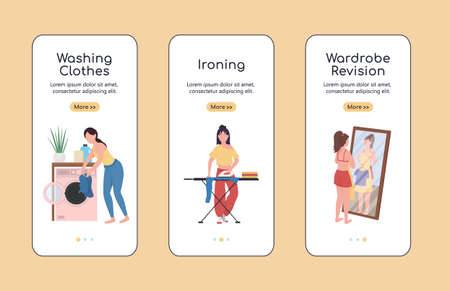 Clothes revision onboarding mobile app screen flat vector template. Spring cleaning. Walkthrough website steps with characters. UX, UI, GUI smartphone cartoon interface, case prints set 矢量图像