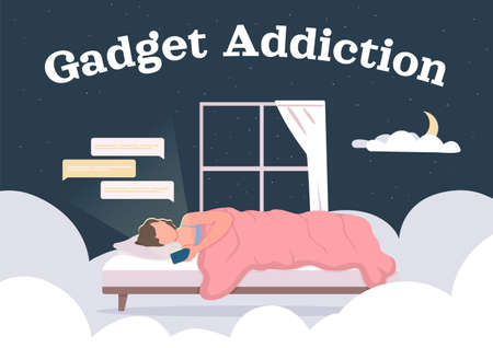 Gadget addiction poster flat vector template. Woman in bed surfing through social media. Brochure, booklet one page concept design with cartoon characters. Digital dependance flyer, leaflet