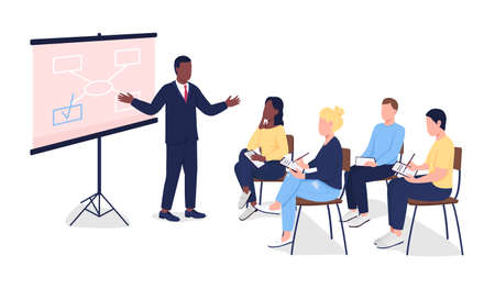 People at business seminar flat color vector faceless characters. Tutor teaching students. Professional at marketing training isolated cartoon illustration for web graphic design and animation