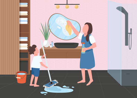 Spring cleaning in bathroom flat color vector illustration. Kid washing floor. Woman wiping mirror. Housekeeping chores. Mother with son 2D cartoon characters with bath room interior on background