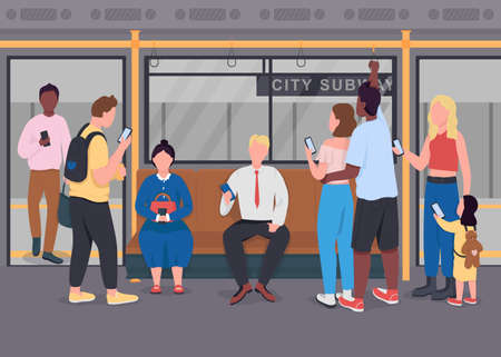 Public commuting flat color vector illustration. People on mobile phones. Men and women communicating. Passengers in underground train 2D cartoon characters with subway interior on background