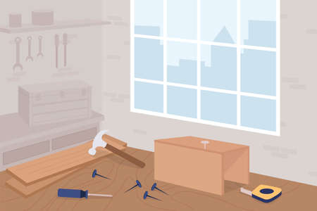 Carpentry workshop flat color vector illustration. Woodworking class. Manual work. Industrial manufacturing. Carpenter studio 2D cartoon interior with furniture and instruments on background