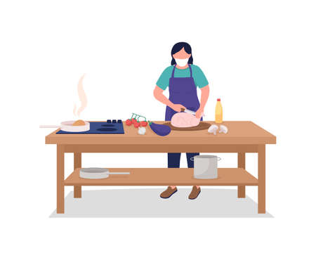 Female chef in face mask flat color vector faceless character. Safety during public event. Cooking, culinary class during pandemic isolated cartoon illustration for web graphic design and animation 矢量图像