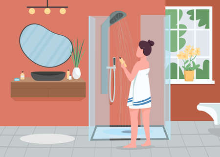 Daily hygiene routine flat color vector illustration. Personal cleanliness. Shower with running water. Woman in bathrobe with shampoo bottle 2D cartoon character with bathroom interior on background