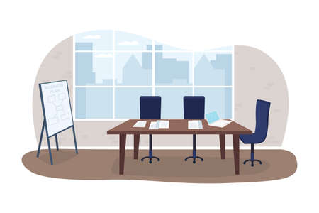 Office meeting room 2D vector web banner, poster. Business seminar. Marketing planning. Conference flat scene on cartoon background. Corporate interior printable patch, colorful web element