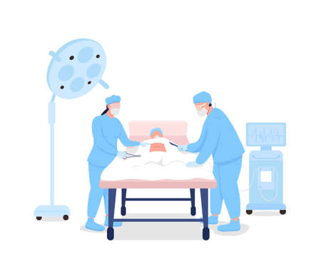 Doctors at surgical procedure flat color vector faceless characters. Hospital aid. Surgeons at operating table. Medical treatment isolated cartoon illustration for web graphic design and animation