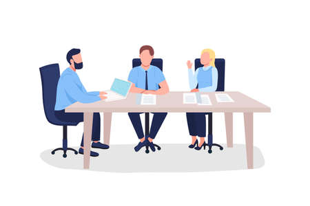 Businesspeople flat color vector faceless characters. Men and woman at professional training on marketing. Business seminar isolated cartoon illustration for web graphic design and animation 矢量图像