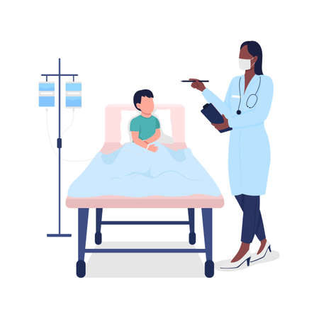 Doctor with child patient flat color vector faceless character. Medical treatment. Recovery in hospital. Healthcare isolated cartoon illustration for web graphic design and animation 矢量图像