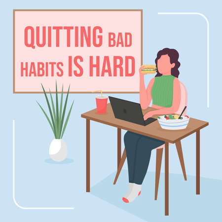 Overeating social media post mockup. Quitting bad habit is hard phrase. Web banner design template. Health booster, content layout with inscription. Poster, print ads and flat illustration 矢量图像