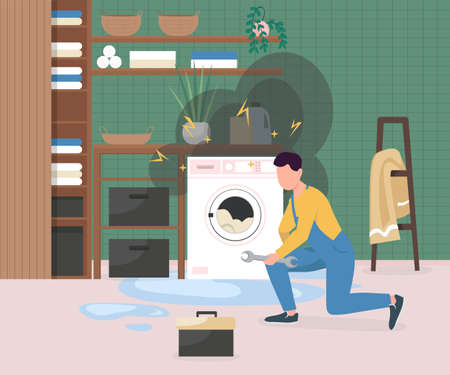 Fixing broken washing machine flat color vector illustration. Man repairing electrical appliance. Home accident. Handyman with wrench 2D cartoon character with bathroom interior on background