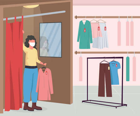 Clothing shop during epidemic flat color vector illustration. Hangers with clothes and apparel. Woman in dressing room wearing medical mask 2D cartoon character with store interior on background 矢量图像