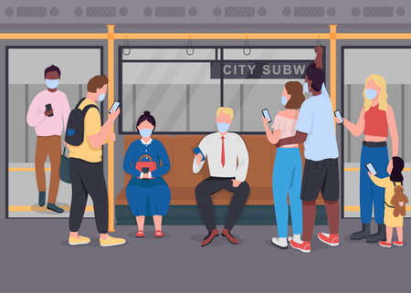 Public transport during epidemic flat color vector illustration. New normal. Passengers with mobile phones in medical masks 2D cartoon characters with subway train interior on background 矢量图像