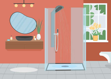 Home bathroom flat color vector illustration. Shower with running water. Everyday routine. Washing for hygiene, cleanliness.Apartment room 2D cartoon interior with furniture on background