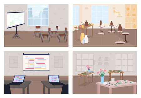 Workshops flat color vector illustration set. Learn hobby. Business training. Pottery class. Conference for developers. Classroom 2D cartoon interior with no people on background collection