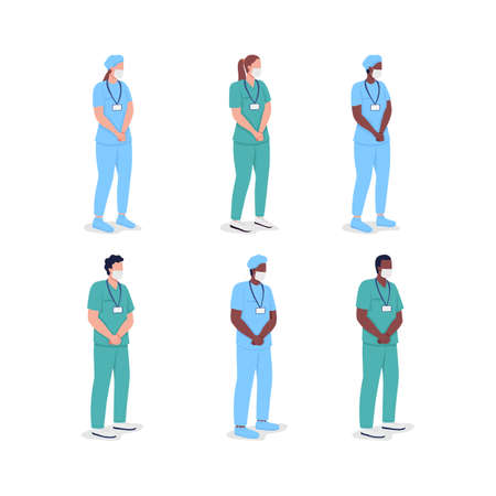 Multicultural doctors flat color vector faceless character set. Professional physicians. Male and female nurses isolated cartoon illustration for web graphic design and animation collection