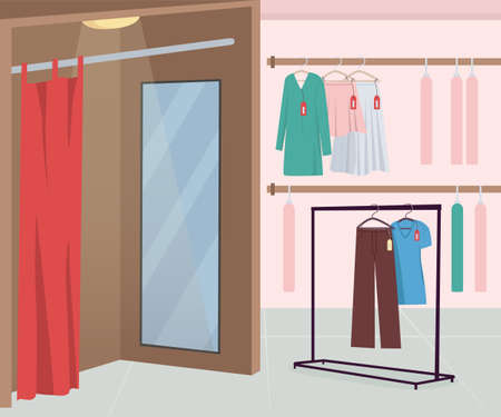 Dressing room in clothing store flat color vector illustration. Apparel for buying. Textile for sale. Retail and commerce. Fashion store 2D cartoon interior with clothes hangers on background