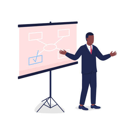 African american man instructing near projector screen flat color vector faceless character. Business seminar teacher isolated cartoon illustration for web graphic design and animation