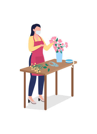 Female florist in face mask flat color vector faceless character. Floral workshop. Flower arrangements. Floristry shop isolated cartoon illustration for web graphic design and animation