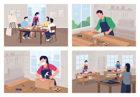 Creative workshop flat color vector illustration set. Cooking course. Carpentry work. Art school. Student in classroom 2D cartoon characters with class interior on background collection