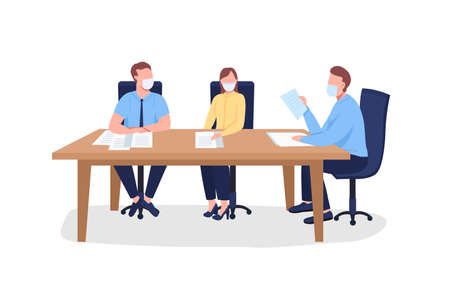 Business people in face mask sitting at table flat color vector faceless characters. Training with instructor. Professional seminar isolated cartoon illustration for web graphic design and animation