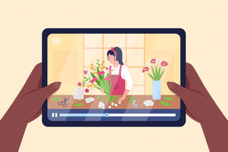 Hands hold tablet with video on flower arrangement flat color vector illustration. Online tutorial to learn hobby. Female florist 2D cartoon character with flowershop on background 矢量图像