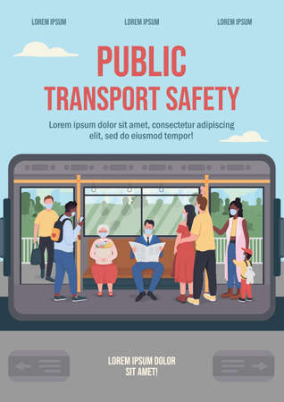 Public transport safety poster flat vector template. Quarantine for   epidemic. Daily commuting. Brochure, booklet one page concept design with cartoon characters.