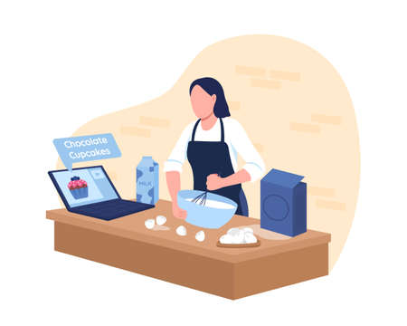 Baking cupcakes with online tutorial 2D vector web banner, poster. Woman prepare food in kitchen flat characters on cartoon background. Distance course printable patch, colorful web element