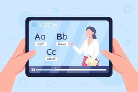 Hands hold tablet with video on english learning class flat color vector illustration. Online tutorial, internet lecture. Teacher 2D cartoon character with language alphabet to study on background 矢量图像