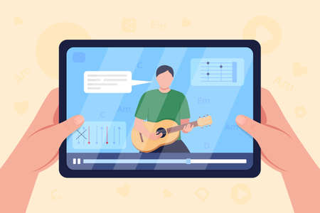 Hands hold tablet with video on guitar tutorial flat color vector illustration. Learning how to play guitar chords. Virtual class. Guitarist 2D cartoon character with screen on background