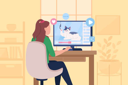 Watching funny viral cat videos flat color vector illustration. Streaming online channels for entertainment. Girl sit at computer desk 2D cartoon character with home room interior on background