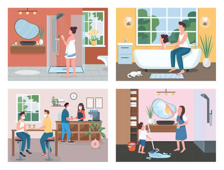 Daily routine flat color vector illustration set. Cleaning apartment. Taking bath. Family and friends 2D cartoon characters with home and coffee shop interior on background collection 矢量图像