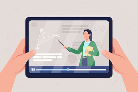 Hands hold tablet with video on geometry class flat color vector illustration. Streaming online seminar. Woman teaching mathematics course 2D cartoon character with information to learn on background 矢量图像