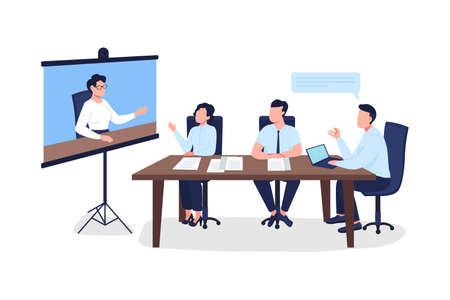 Professionals on business meeting flat color vector faceless character. Tutor on project screen. Seminar on marketing isolated cartoon illustration for web graphic design and animation
