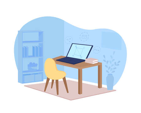 Remote learning 2D vector web banner, poster. Math webinar. Workstation in blue room flat scene on cartoon background. Online tutorial on laptop screen printable patch, colorful web element