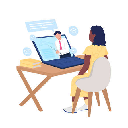 African american girl watching online course on mathematics flat color vector faceless character. Distance learning isolated cartoon illustration for web graphic design and animation