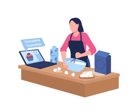 Caucasian woman baking with online tutorial flat color vector faceless character. Girl in kitchen. Remote cooking classes isolated cartoon illustration for web graphic design and animation 矢量图像
