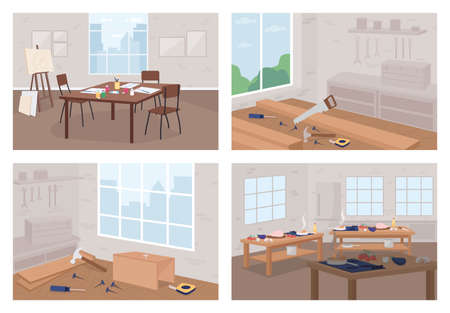 Art and craft workshops flat color vector illustration set. Learn new hobby. Florist shop. Carpentry, woodworking. Classroom 2D cartoon interior with no people on background collection Illusztráció