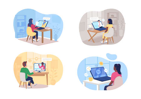 Remote class 2D vector web banner, poster set. Man and woman watching online tutorial flat characters on cartoon background. Elearning printable patch, colorful web element collection