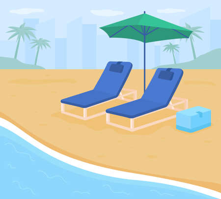 Folding chairs on sand beach flat color vector illustration. Seashore during summertime. Family-friendly beach. Seaside resort. Vacation getaways 2D cartoon sand beach with cityscape on background