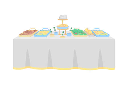 Buffet table for wedding reception flat color vector object. Hotel restaurant. Multiple hot, cold dishes. Table serving for party isolated cartoon illustration for web graphic design and animation