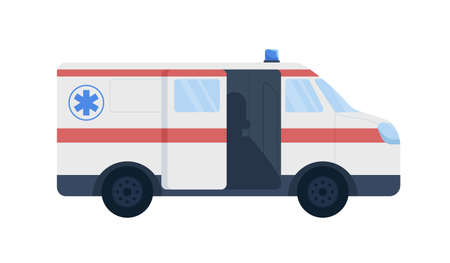 Emergency vehicle flat color vector object. Paramedic ambulance car. Providing life support. Patients transfer to medical facilities isolated cartoon illustration for web graphic design and animation