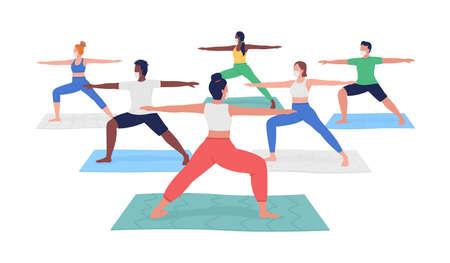 Yoga class during pandemic flat color vector faceless character. Different men and women exercising. Activity for summer. Meditation isolated cartoon illustration for web graphic design and animation