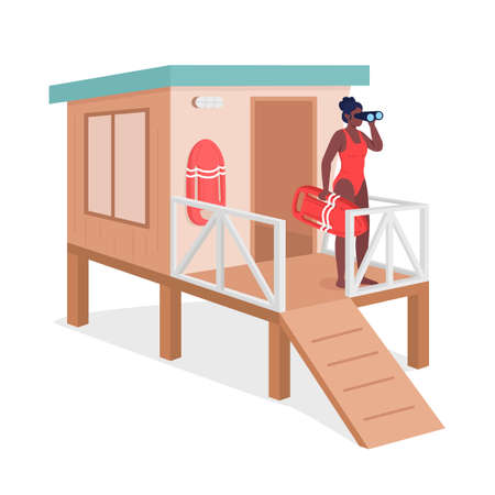 Female life guard flat color vector faceless character. African american woman in swimsuit with binoculars. Beach oversee for safety isolated cartoon illustration for web graphic design and animation