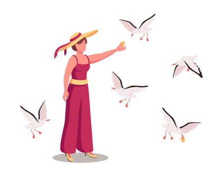 Lady surrounded by soaring seagulls flat color vector faceless character. Gulls flying around woman. Feeding birds on beach isolated cartoon illustration for web graphic design and animation