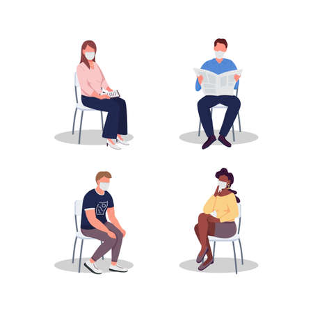 Hospital visitors in masks flat color vector faceless characters set. Medical appointment. Clinic waiting room experience isolated cartoon illustrations collection for web graphic design and animation