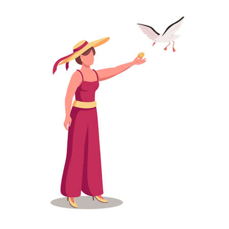 Young woman feeding seagull flat color vector faceless character. Contact with wildlife. Giving food to gulls on seashore isolated cartoon illustration for web graphic design and animation 矢量图像
