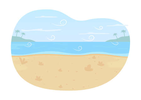 Ocean beach 2D vector web banner, poster. Summer seascape flat scenery on cartoon background. Scenic lagoon. Retreat for holiday trip. Panoramic paradise printable patch, colorful web element 矢量图像