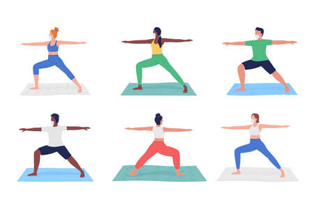 Yoga class during pandemic flat color vector faceless character set. Different people exercising in masks isolated cartoon illustration for web graphic design and animation collection
